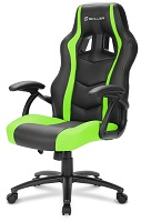 SHARKOON SKILLER SGS1 BLACK/GREEN GAMING SEAT SYNTHETIC LEATHER FIXED ARMREST 50MM - PIANURA Informatica
