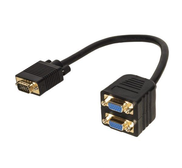 CAVO SPLITTER VGA 1 CON MASCHIO E 2 FEMMINA VGA (LKADAT06) - PIANURA Informatica