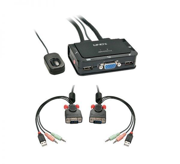 SWITCH KVM 2 PC CON PORTE 1 VGA E 2 USB (42342) - PIANURA Informatica