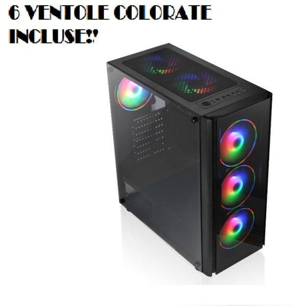 CASE GAMING TX-192-11 M-ATX CON 6 VENTOLE COLORATE INCLUSE - PIANURA Informatica