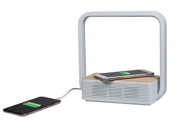 LAMPADA DA TAVOLO LED USB WIRELESS CHARGER E SPEAKER BLUETOOTH (M-LAMWCBT2) - PIANURA Informatica