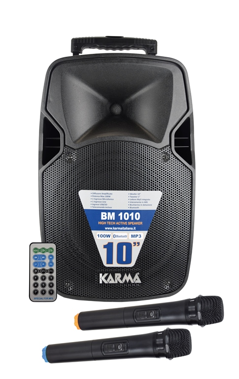 CASSA AUDIO DIFFUSORE AMPLIFICATO 100W CON 2 RADIOMICROFONI BM 1010 - PIANURA Informatica