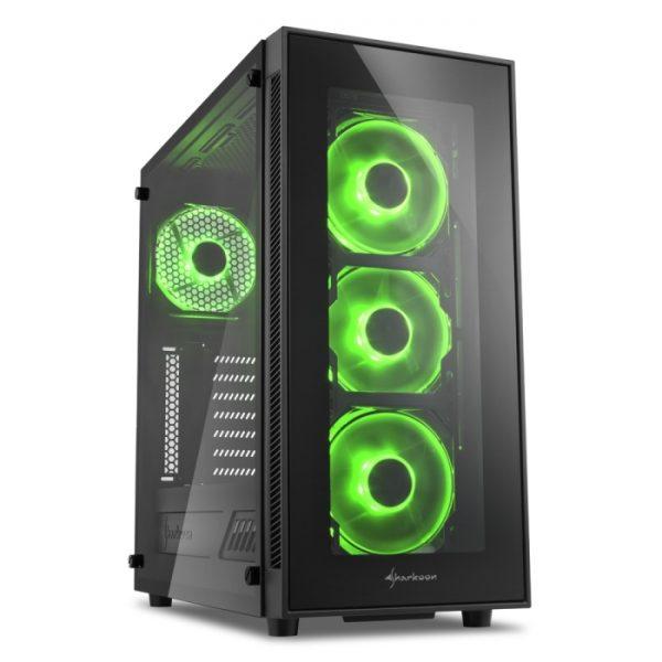 CASE TG5 GREEN ATX VETRO TEMPERATO LED VERDE - PIANURA Informatica