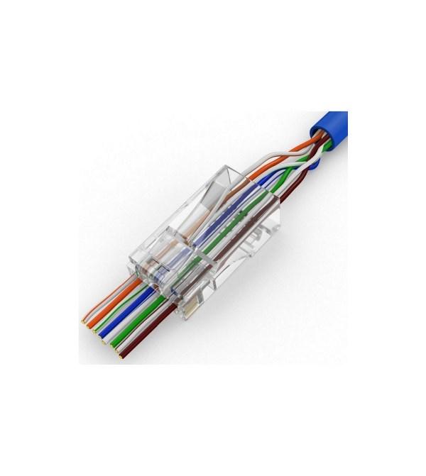CONNETTORE PLUG RETE RJ45 8P CAT.6 UTP CON FORI PASSANTI (CONF. 10PZ) (WPC-MDP-883-6UP-R50T) - PIANURA Informatica