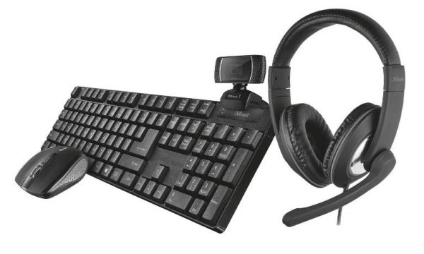 KIT TASTIERA + MOUSE + WEBCAM + CUFFIE - QOBY 4-IN-1 HOME OFFICE SET (24041) - PIANURA Informatica
